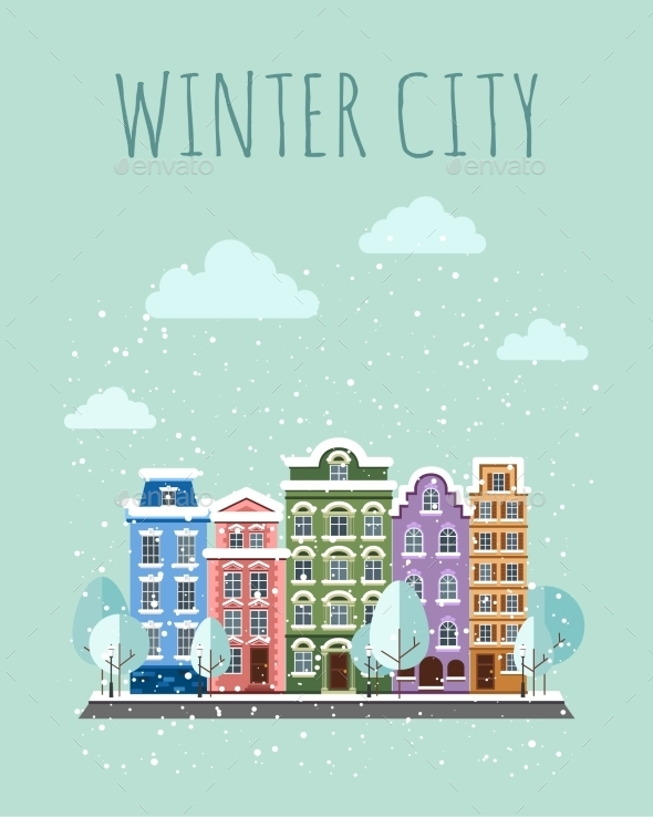GraphicRiver Old Town In Winter 11350321
