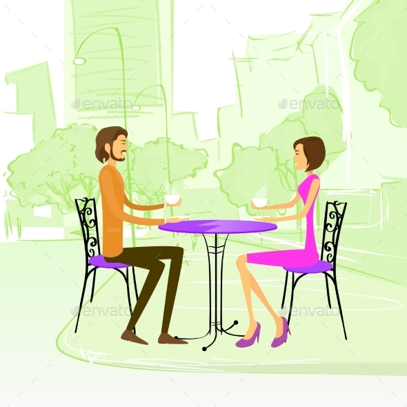 GraphicRiver Couple Sitting Street Cafe Outdoor At Table 11350364