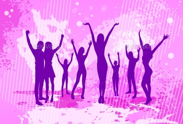 GraphicRiver Dancing Pink Colorful Dance Banner People Crowd 11350380