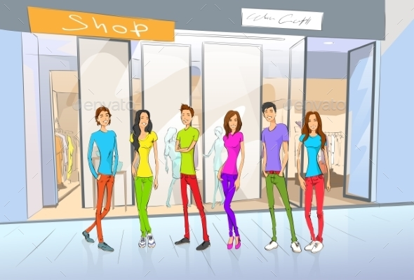 GraphicRiver People Friends Shopping Girls And Men At Window 11350467