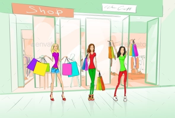 GraphicRiver Women Friends Shopping Bags Shop Mall Center 11350471