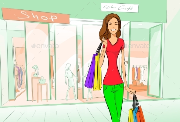 GraphicRiver Woman Shopping Bags Modern Luxury Shop Mall 11350478