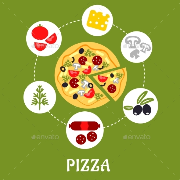 GraphicRiver Flat Pizza Infographic With Ingredients 11350908