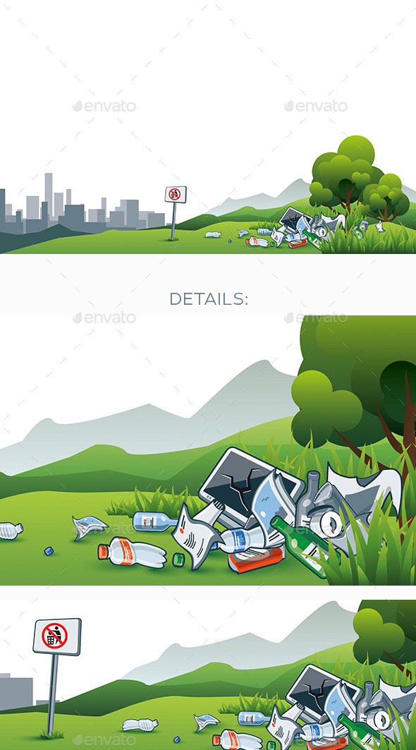 GraphicRiver Trash in the Nature Environment Littering City 11350912
