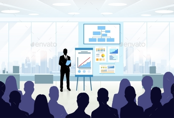 GraphicRiver Business People Group Silhouettes At Conference 11351376