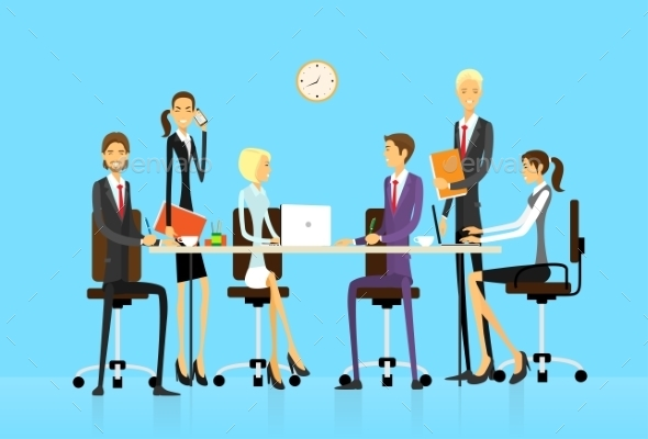GraphicRiver Business People Group Sitting At Office Desk 11351477