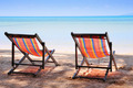 Two beach chairs on idyllic tropical sand beach. - PhotoDune Item for Sale