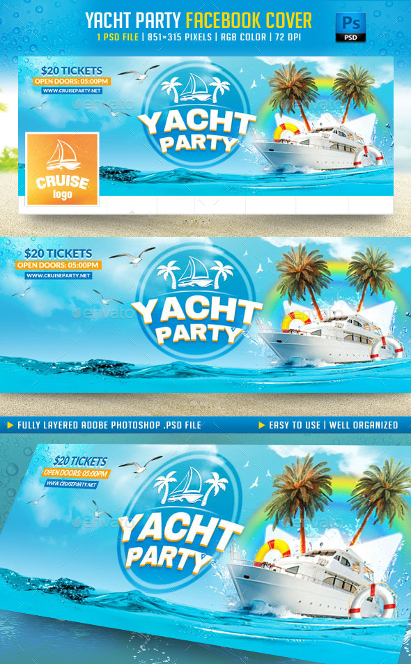GraphicRiver Yacht Party Facebook Cover 11351587