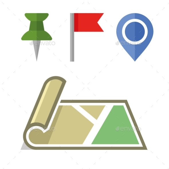 GraphicRiver Map Icon With Different Pins Set Vector 11351603