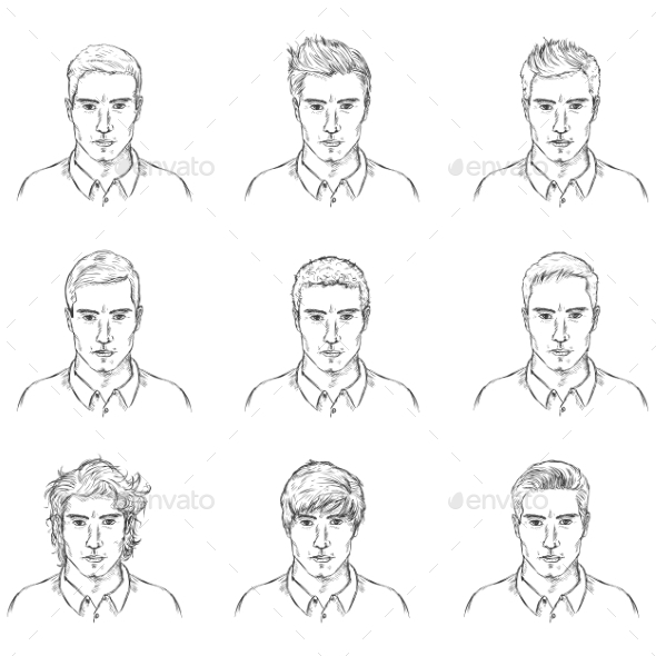 GraphicRiver Vector Set Of Sketch Male Faces 11351776