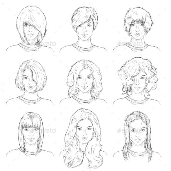 GraphicRiver Vector Set Of Sketch Female Faces 11351784