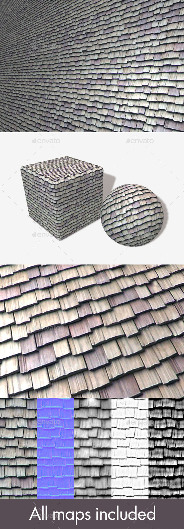 3DOcean Wooden Roof Tiles 11351807