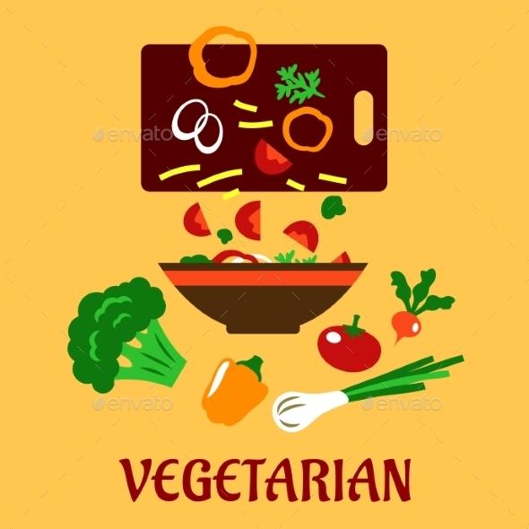 GraphicRiver Healthy Vegetarian Cuisine Flat Concept 11352260