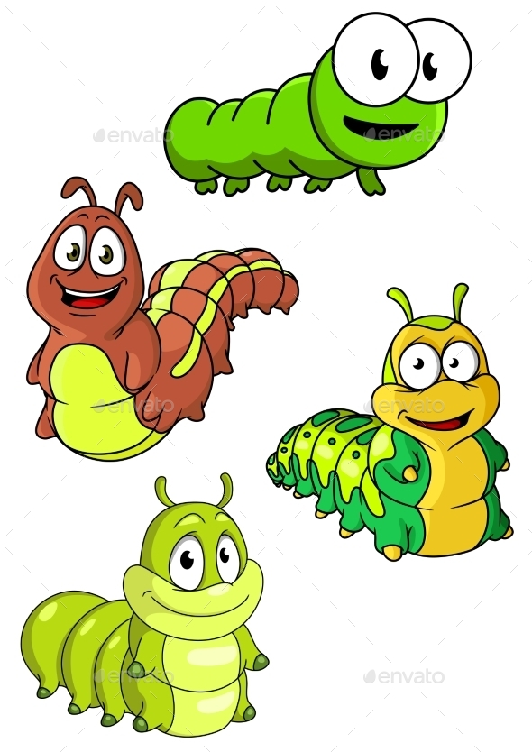 GraphicRiver Cute Colorful Cartoon Caterpillars Characters 11352265