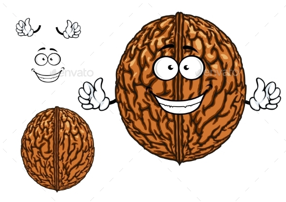 GraphicRiver Smiling Happy Whole Walnut Character 11352290