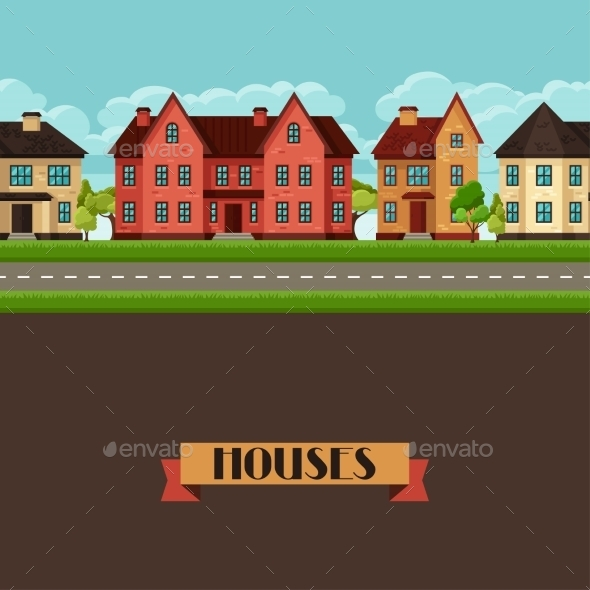 GraphicRiver Town Seamless Border With Cottages And Houses 11353420