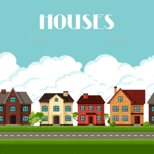 GraphicRiver Town Seamless Border With Cottages And Houses 11353423