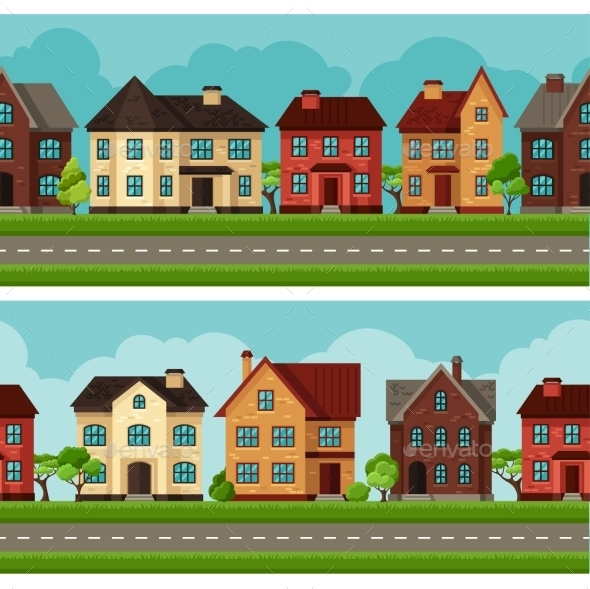 GraphicRiver Town Seamless Borders With Cottages And Houses 11353428