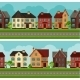 Town Seamless Borders With Cottages And Houses - GraphicRiver Item for Sale