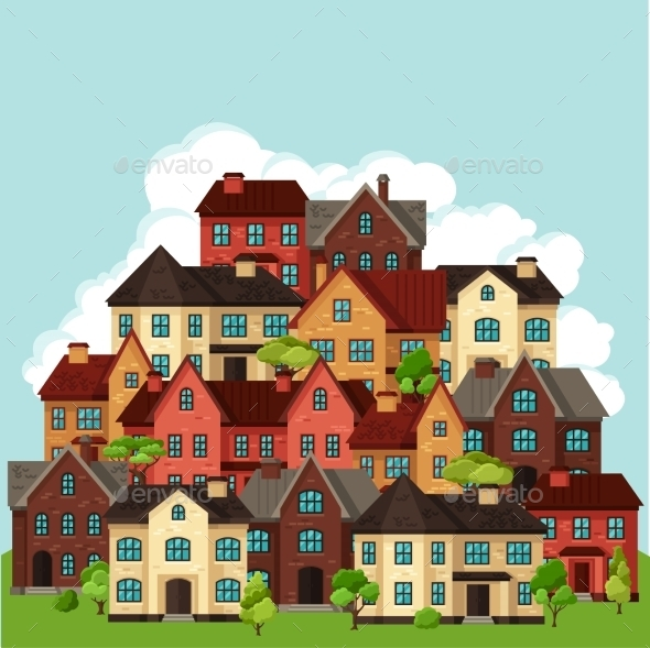 GraphicRiver Town Background Design With Cottages And Houses 11353432