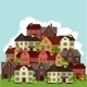 Town Background Design With Cottages And Houses - GraphicRiver Item for Sale
