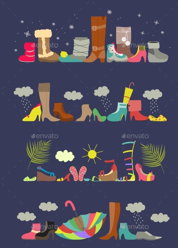 GraphicRiver Collection Of Various Shoes Four Seasons 11354303