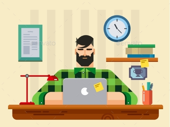 GraphicRiver Man At a Desk In Front Of Laptop 11354551
