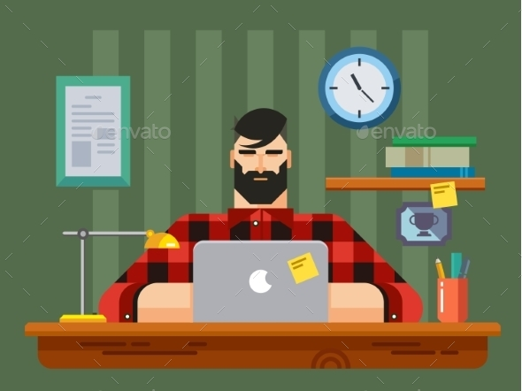 GraphicRiver Man At a Desk In Front Of Laptop 11354552