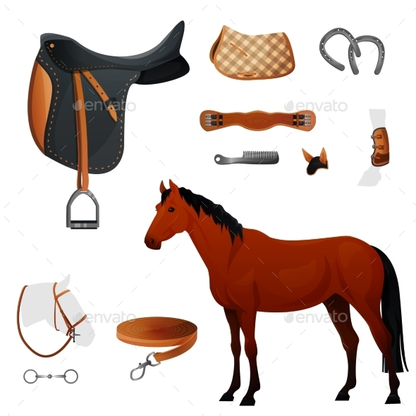 GraphicRiver Set Of Equestrian Equipment For Horse 11354570