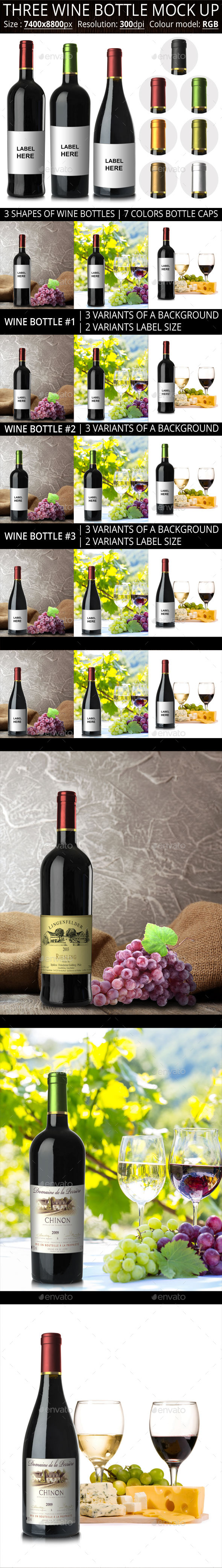 GraphicRiver Three Wine Bottle Mock Up 11300353
