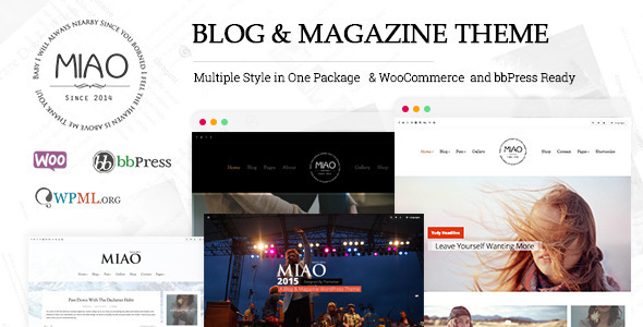 ThemeForest Miao Multi-Style Blog & Magazine WordPress Theme 11170534