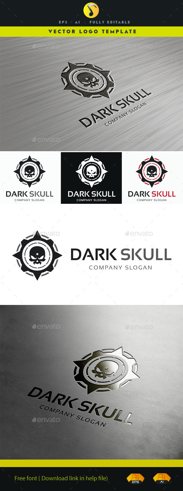 GraphicRiver Dark Skull Logo 11354909