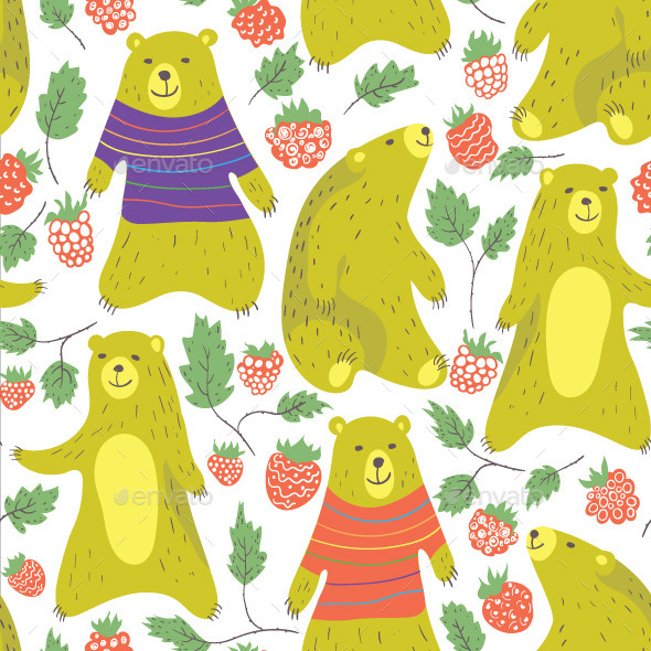 GraphicRiver Bear and Raspberry 11355081