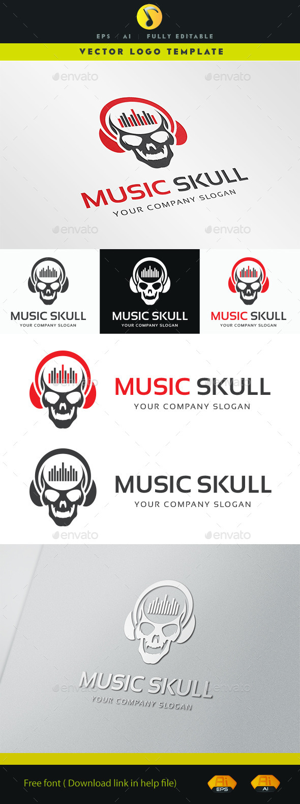 GraphicRiver Music Skull 11355094