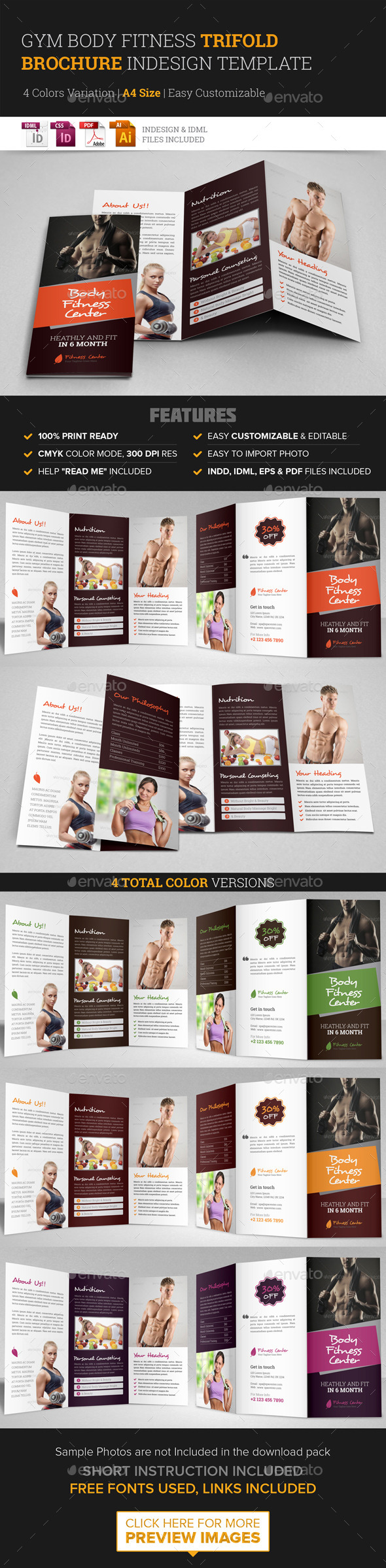 Gym fitness trifold brochure indesign template graphicriver for Gym brochure template