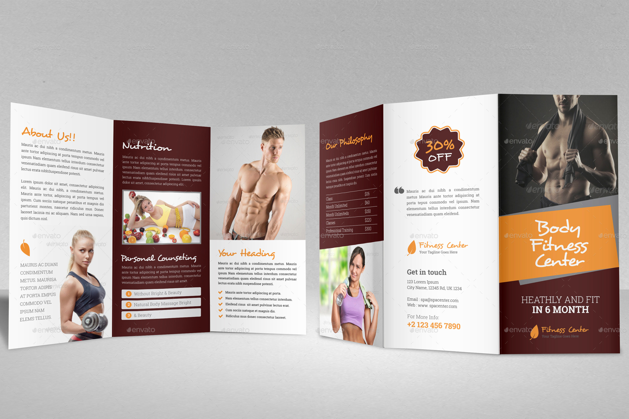 Gym fitness trifold brochure indesign template by for Fitness brochure template