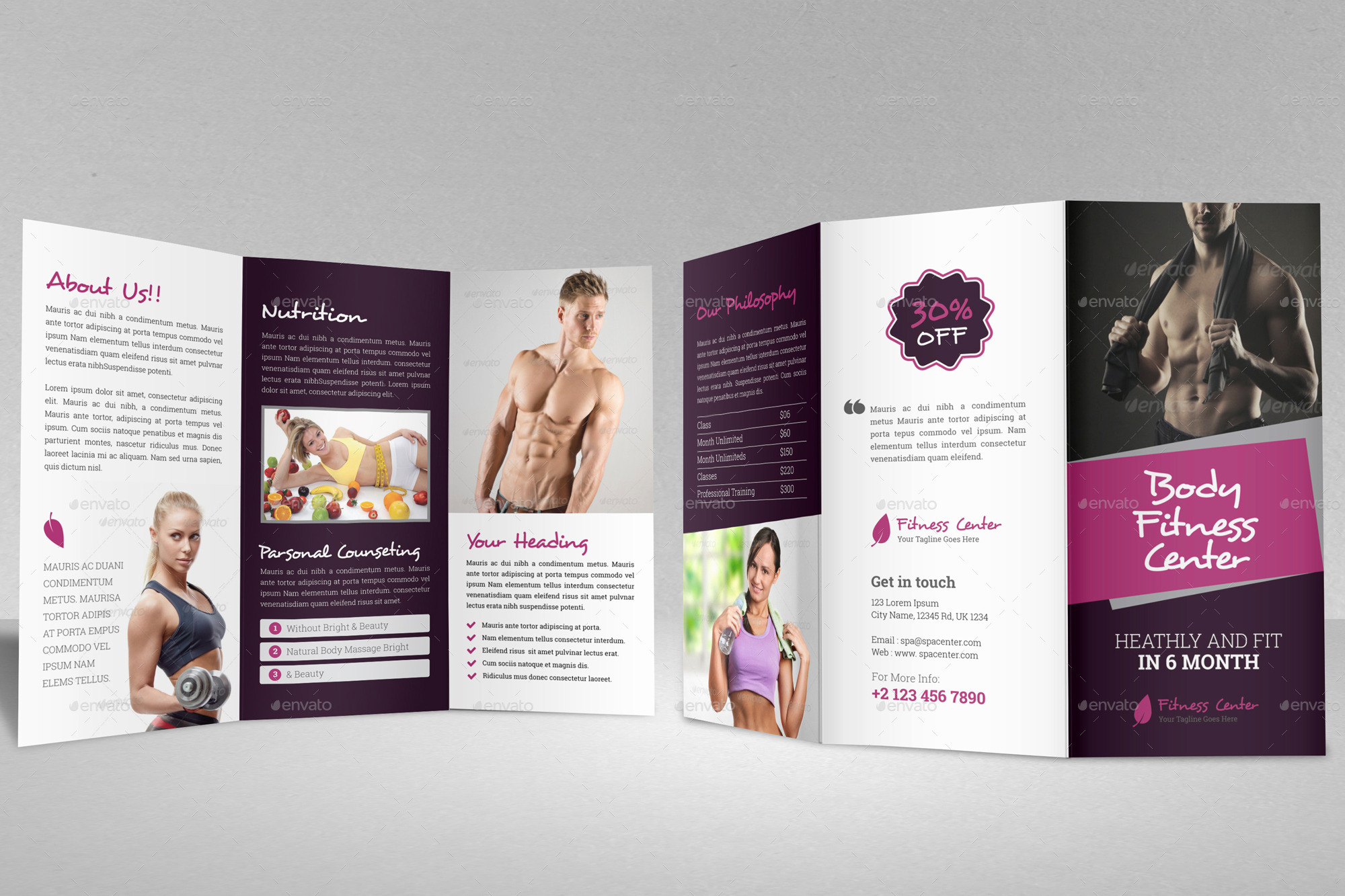 Gym Fitness Trifold Brochure Indesign Template by JanySultana – Gym Brochure