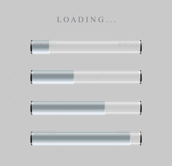 GraphicRiver Gray Loading Bars Set With Shine 11356337