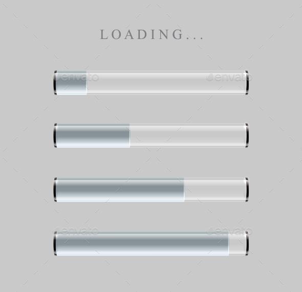 GraphicRiver Gray Loading Bars Set With Shine 11356337