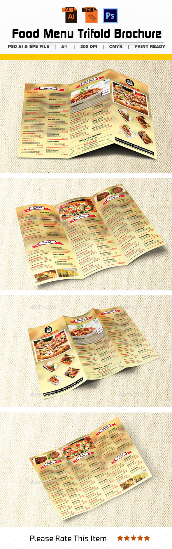 GraphicRiver Food Menu Trifold Brochure 11297162