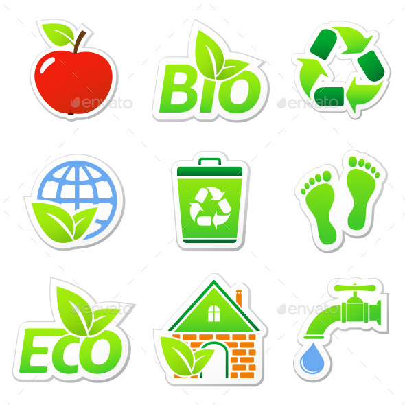 GraphicRiver Ecology Stickers 11356633