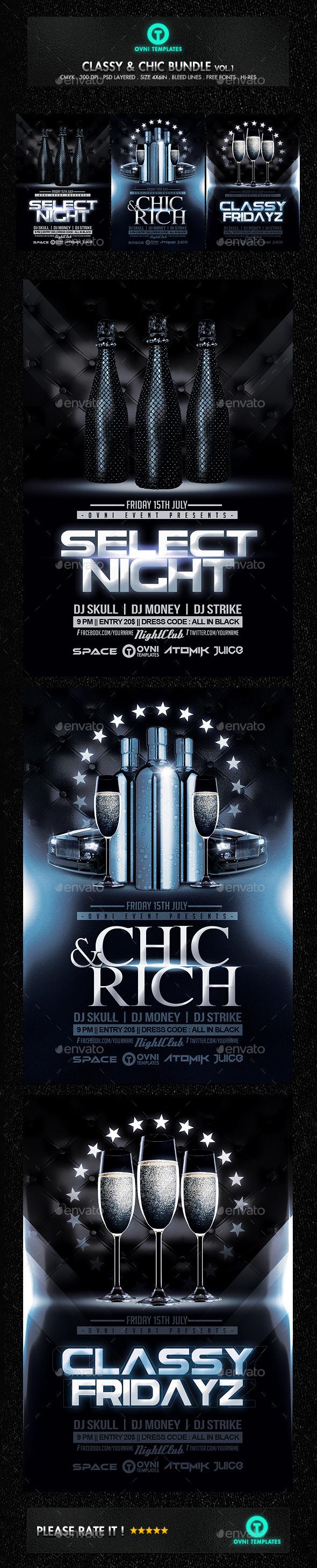 GraphicRiver Classy Chic VIP Flyer Bundle 11356962