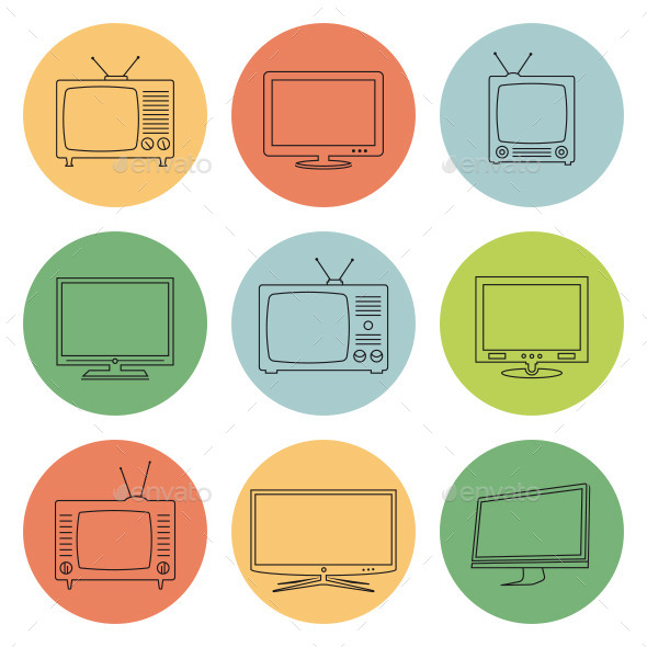 GraphicRiver TV Icons Thin Line Style 11356966