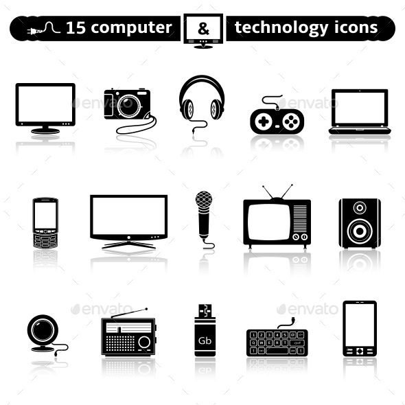 GraphicRiver Computer and technology icon set 11357003