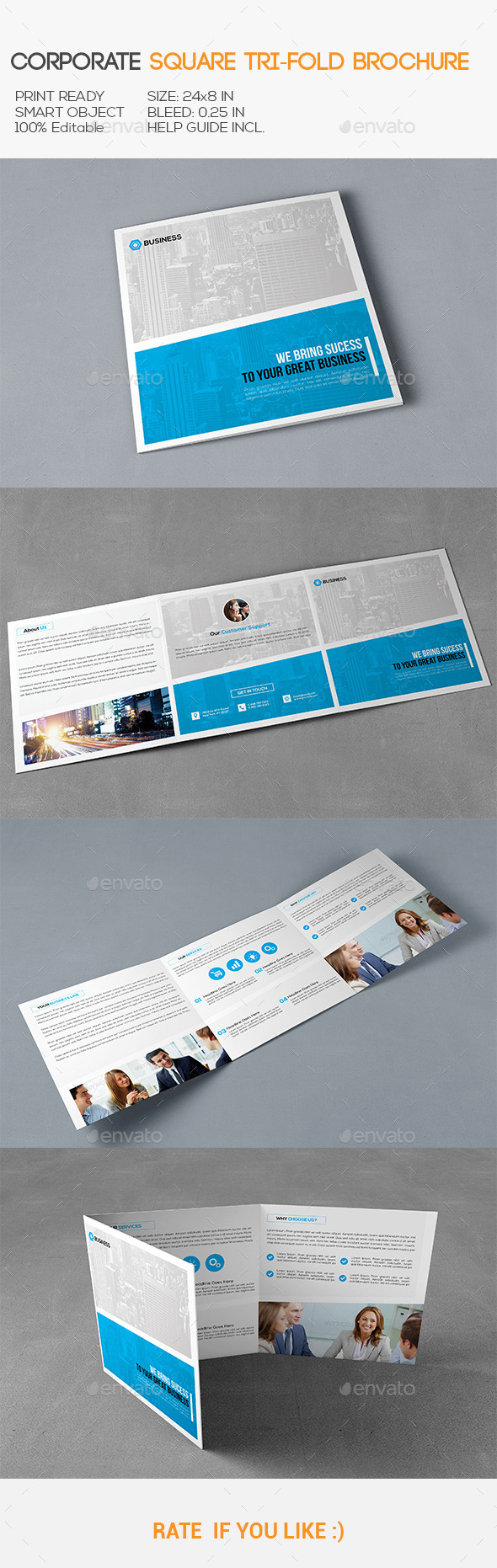 GraphicRiver Square Corporate Trifold Brochure 11357382