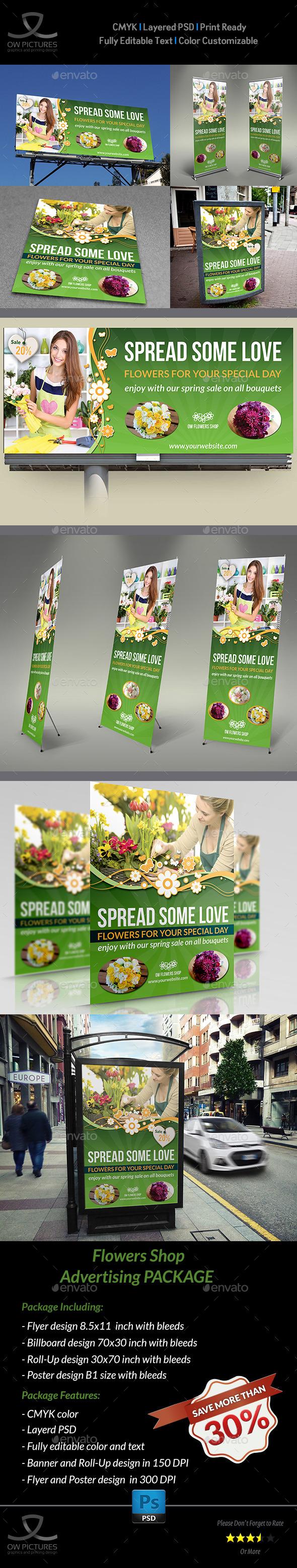 GraphicRiver Flowers Shop Service Advertising Bundle 11357388