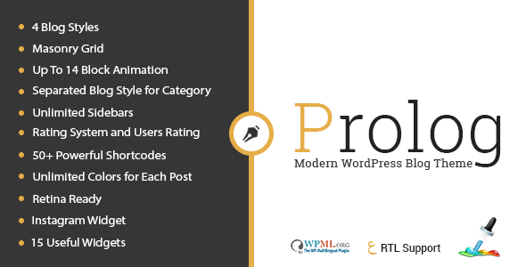 ThemeForest Prolog Personal Creative Blog WordPress Theme 10994840