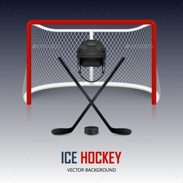 GraphicRiver Ice Hockey Helmet Puck Sticks And Goal 11357565