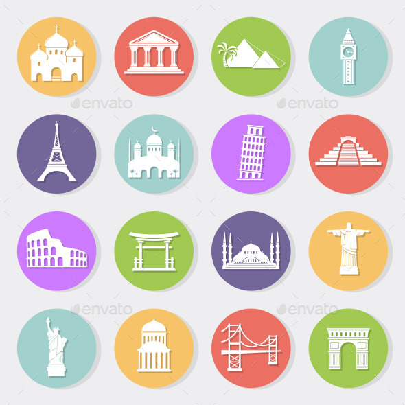 GraphicRiver World landmarks flat icons 11357570