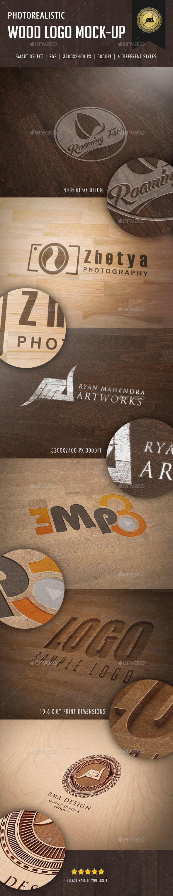 GraphicRiver Photorealistic Wood Logo Mock-Up 11357761